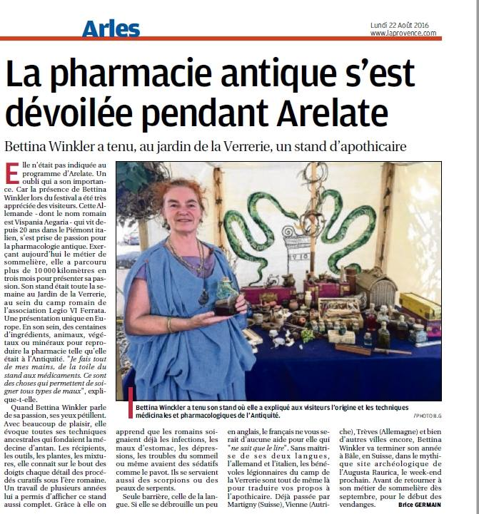 La Provence Bettina Winkler Vipasania Aegeria Phramacopea Legio VI Ferrata