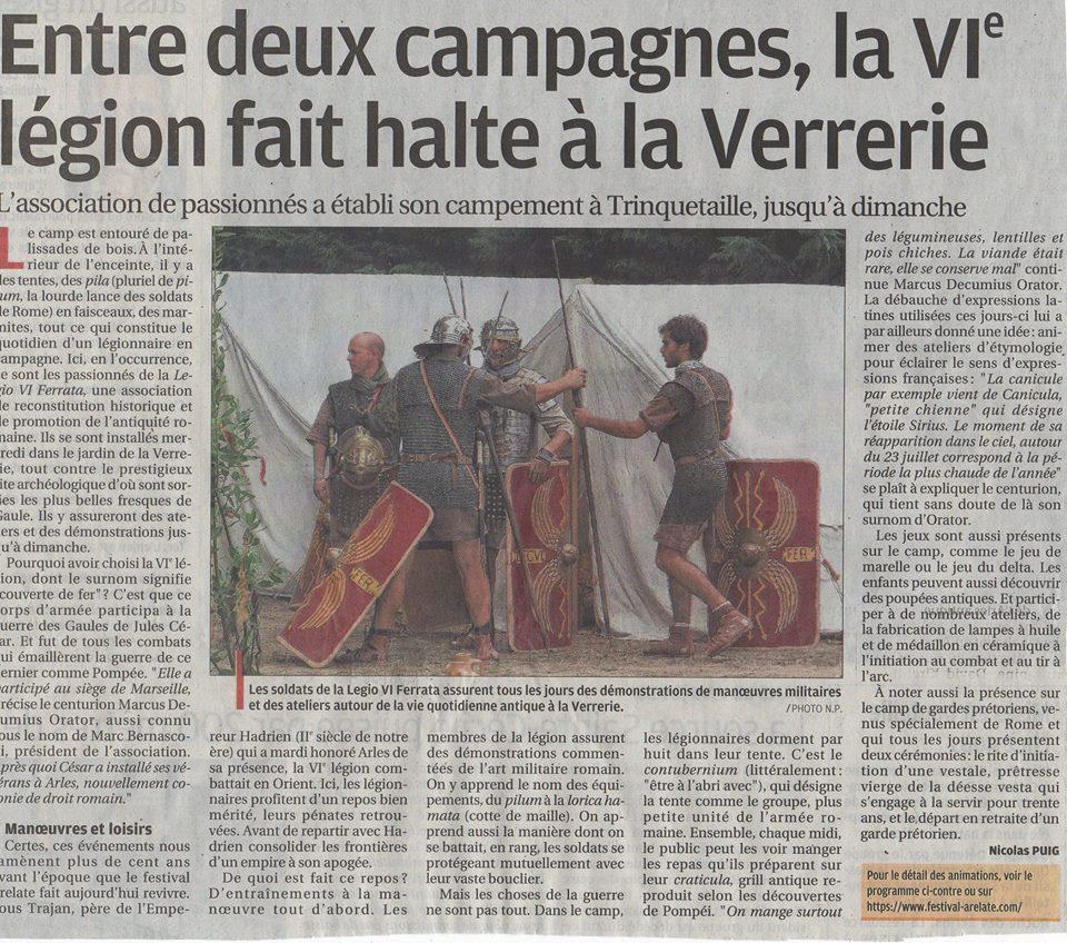 festival Arelate jardin de la Verrerie légion VI